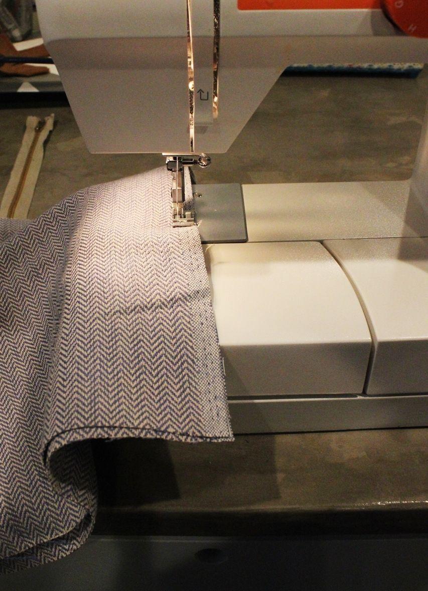 DIY Pouf Ottoman Cube - baste stitch