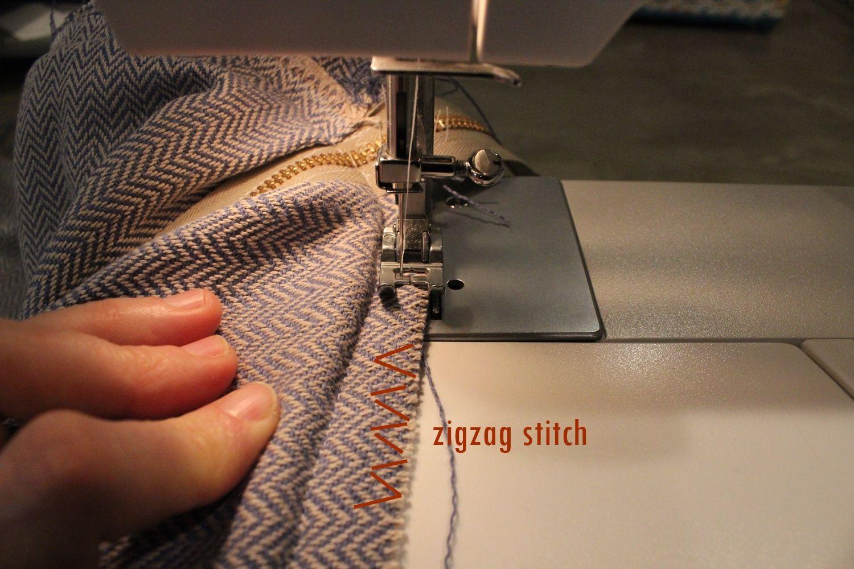 DIY Pouf Ottoman Cube - run a zigzag stitch