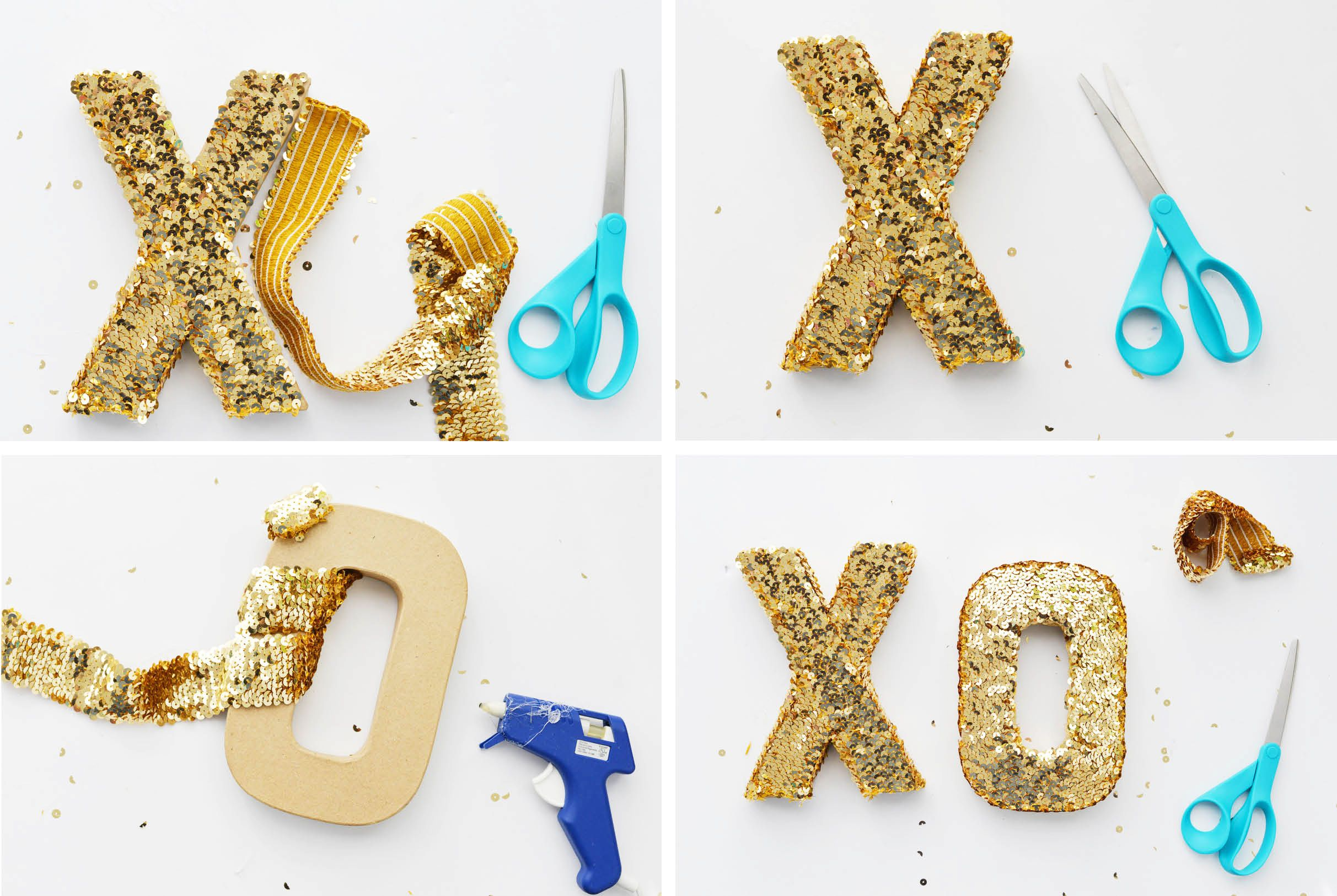 DIY Sequin XOXO Letters Instructions Part 2