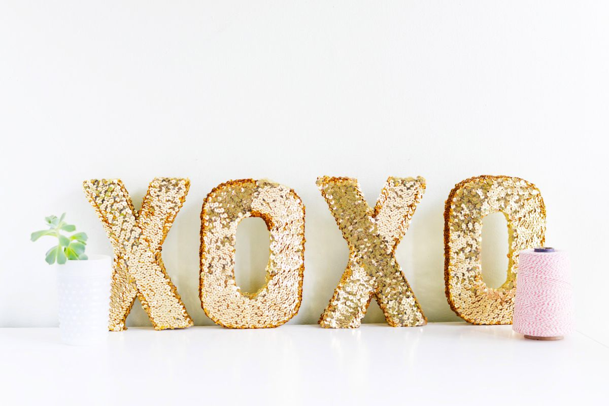 DIY Sequin XOXO Letters