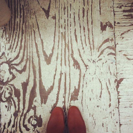 Distressed plywood floor