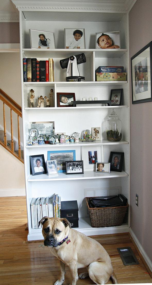 Divided built in shelves