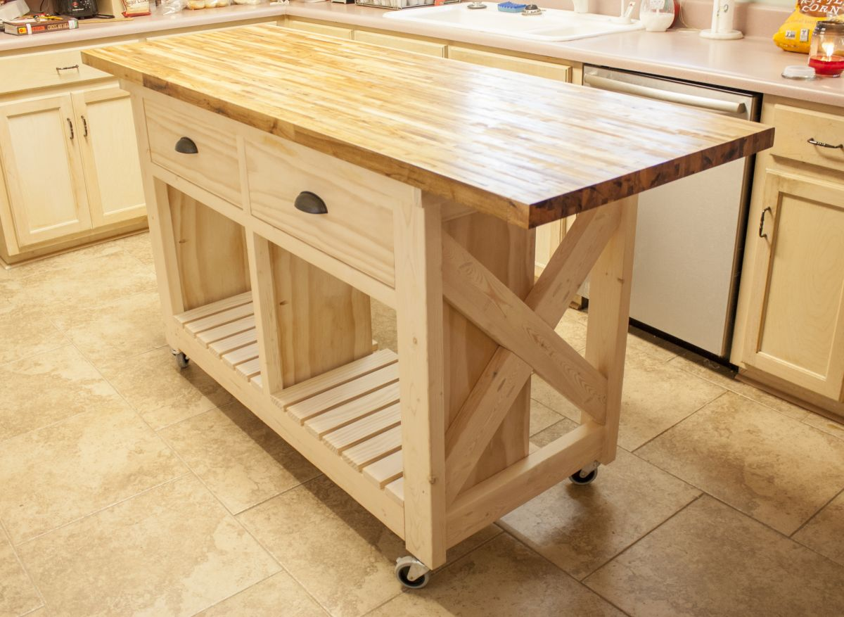 Double kitchen island with butcher block top on wheels