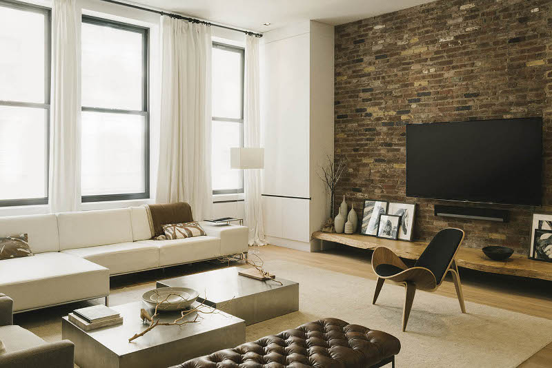 Exposed bricks walls for living room