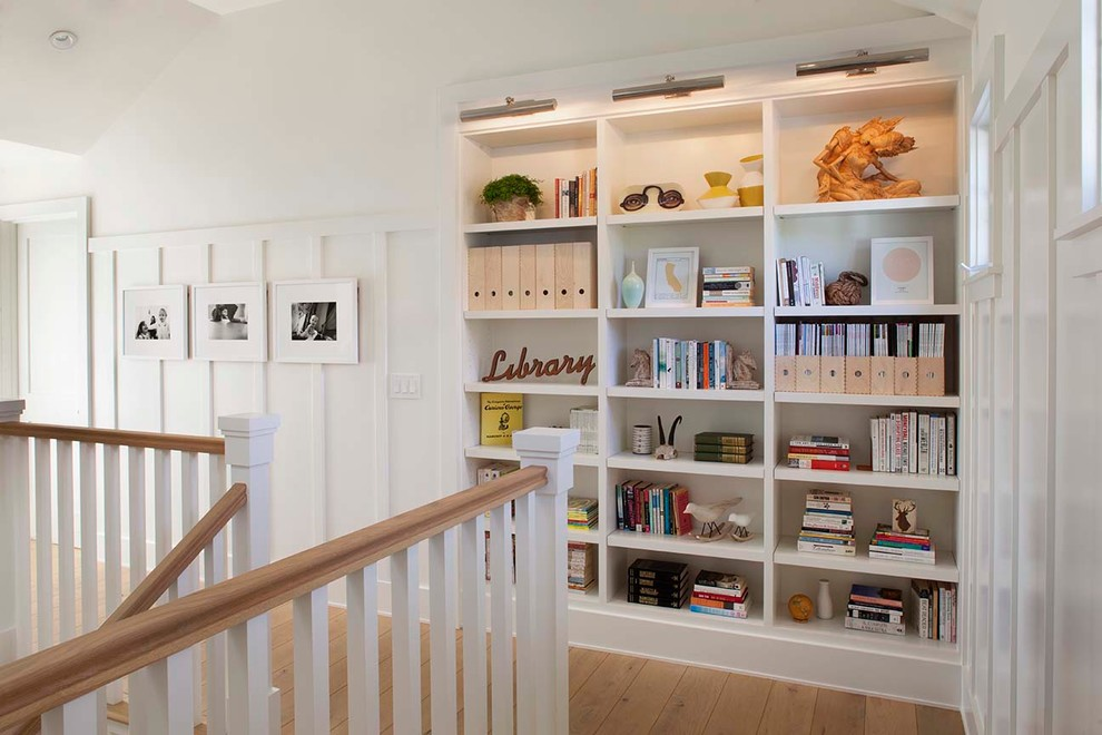 Farmhouse Stair Hallway Built In Shelves