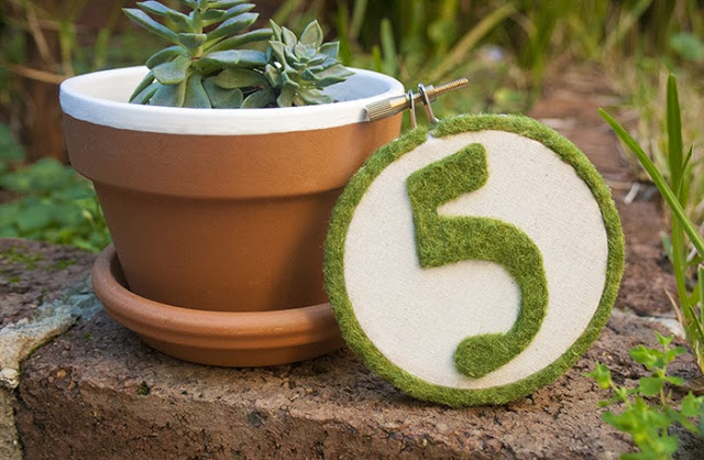 Faux moss hoop table number