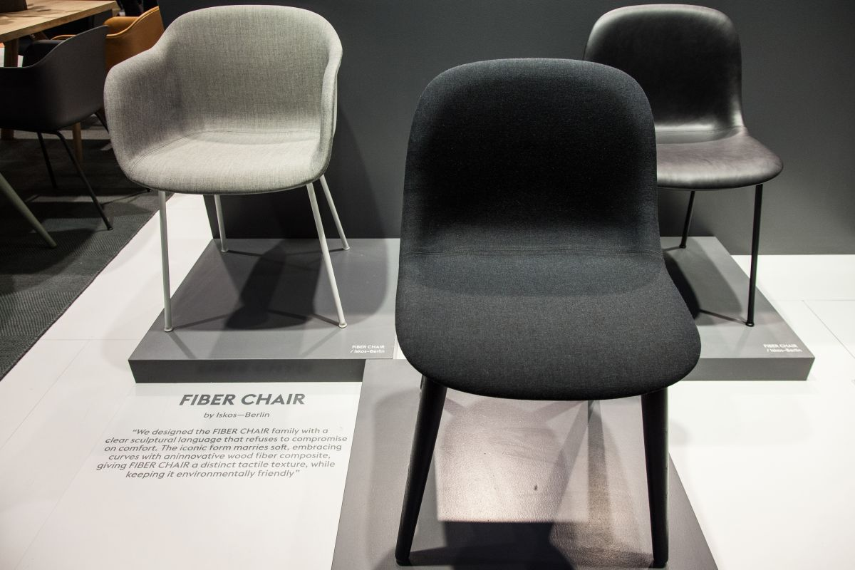 Fiber chair with wood base by iskos