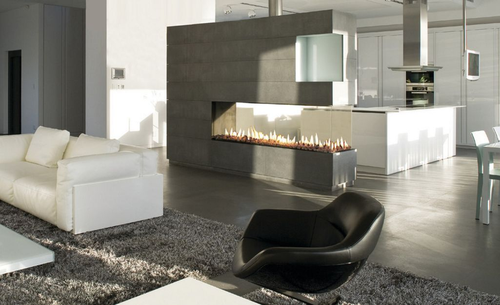 How to design around a central fireplace so everything is - Ways to divide a room ...