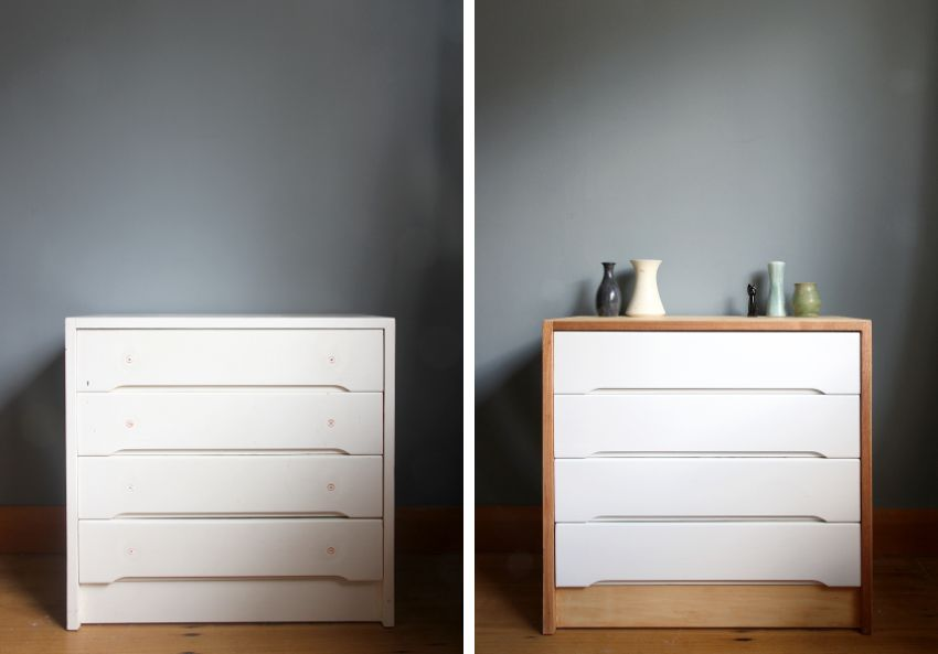 Fresh Scandinavian Makeover for Dresser - before and after