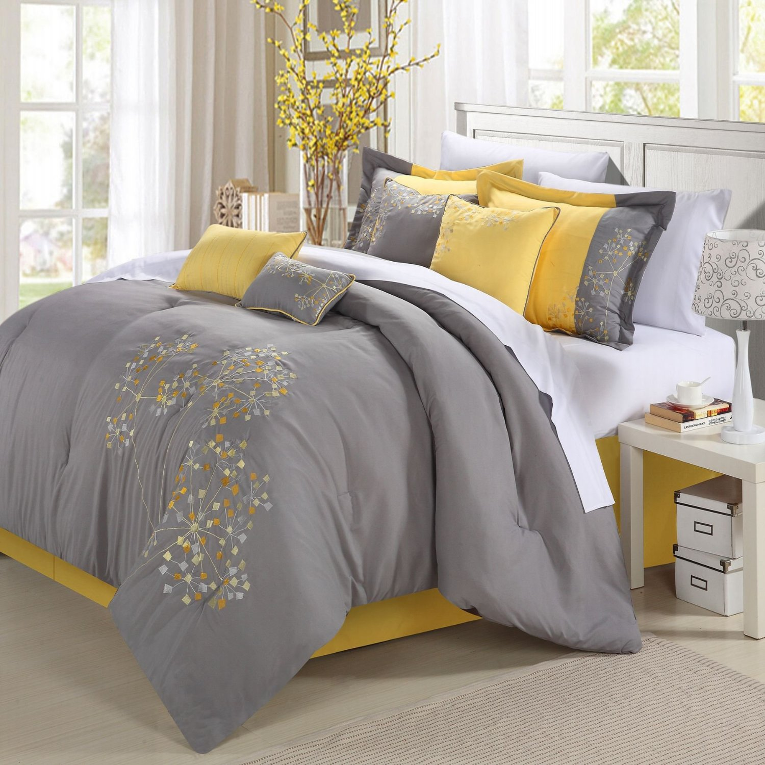 Geo Floral Grey And Yellow Bedding
