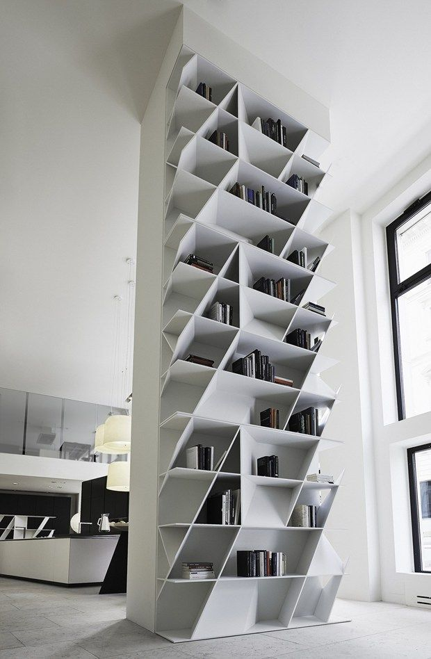 Geometric bookcases and wall units