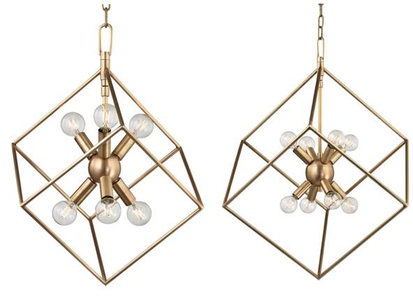 Geometric brass pendant lamp