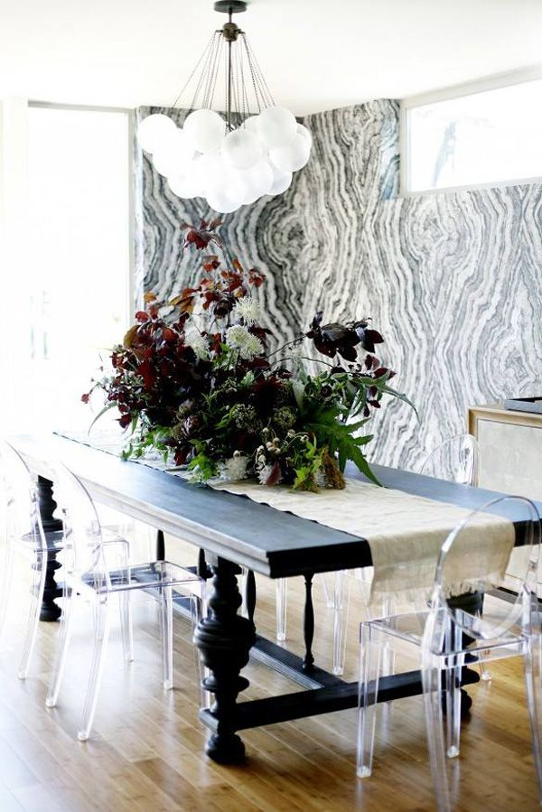 Ghost chairs and focal wall