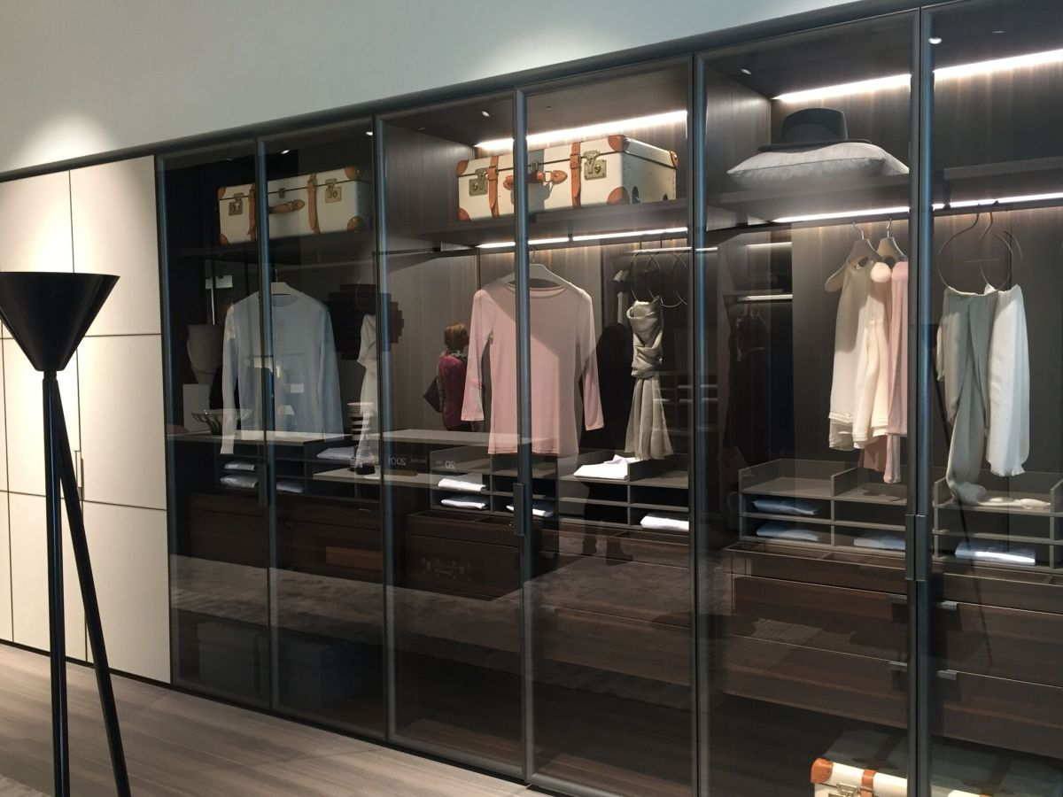 A layout that cannot accommodate a walk-in closet can still feature spacious clothing storage like this.