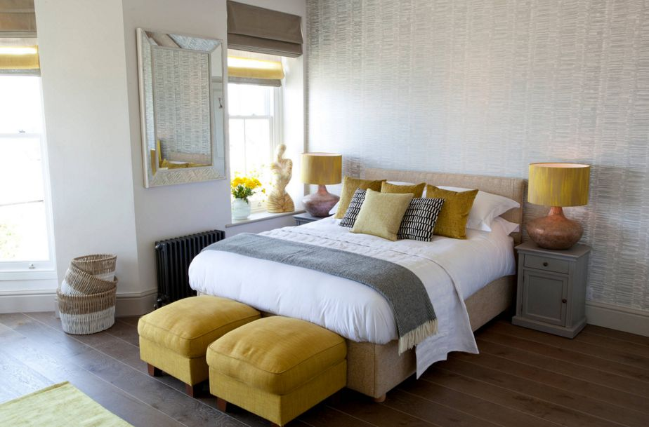 Charming Grey And Yellow Bedroom Design