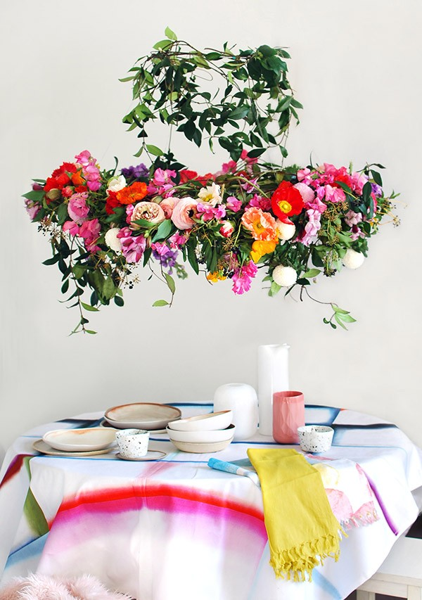 Hanging flower above the dining table for spring
