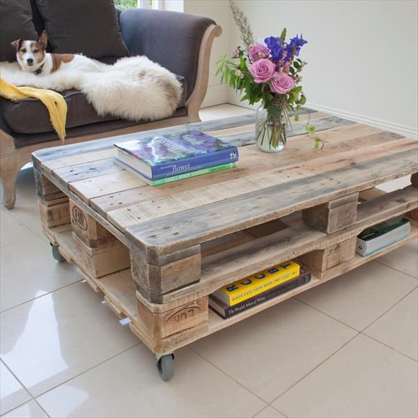 Industrial pallet coffee table on wheels