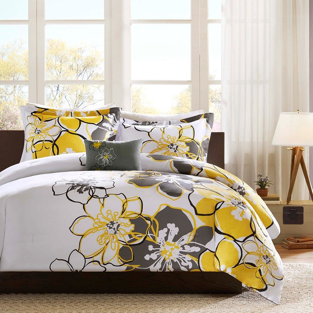 20 large floral - Yellow Bed Frame
