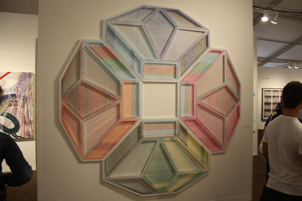 On a large scale, even simple linear designs can be dazzling when combined into a larger geometric shape.