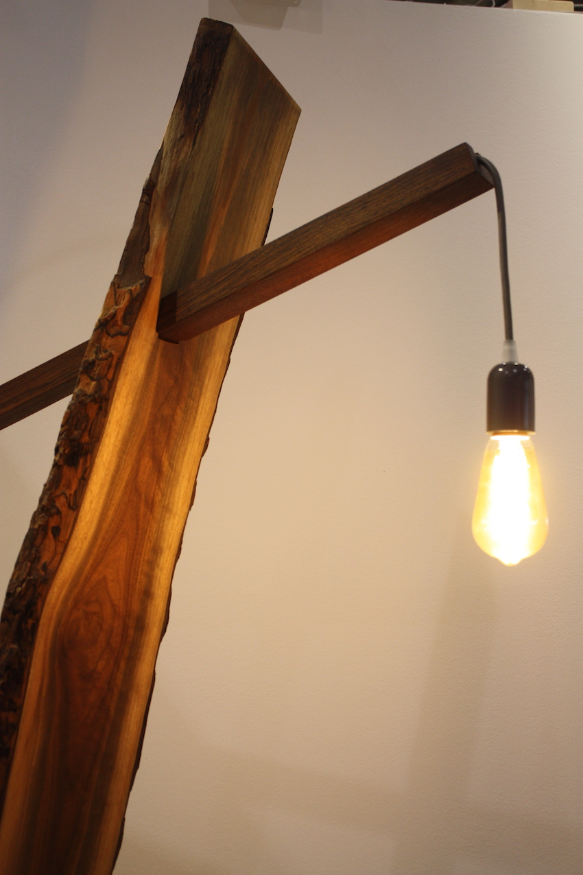 Live edge floor lamp close