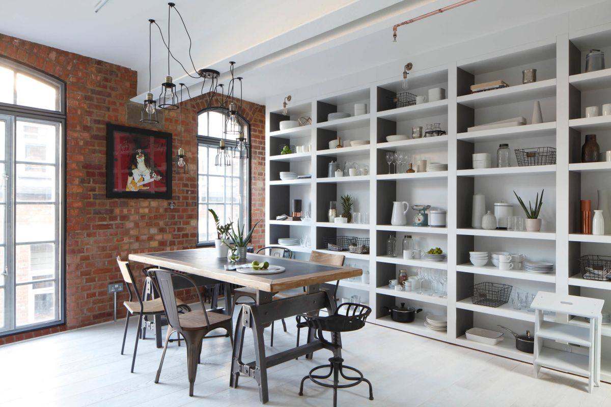 Luxury Loft Apartment dining area wall unit