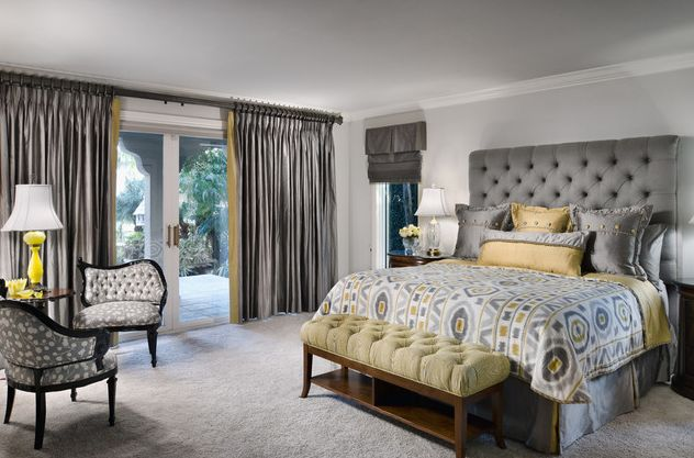 Luxury bedroom with grey and yellow design