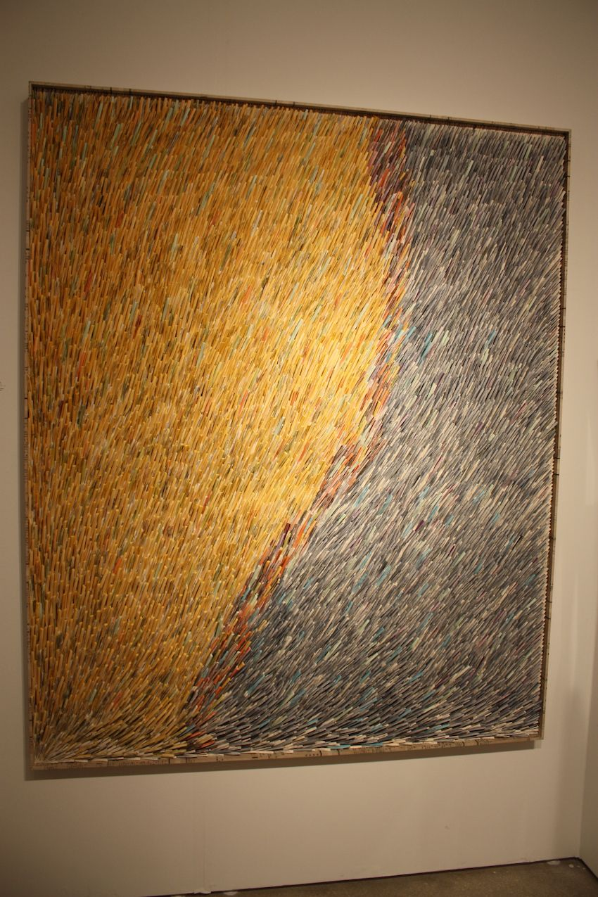 In contrast to the previous piece, he uses the paper in an elongated form for an entirely different style of work.