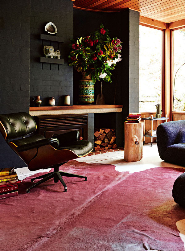 Masculine living room with eames lounge chair