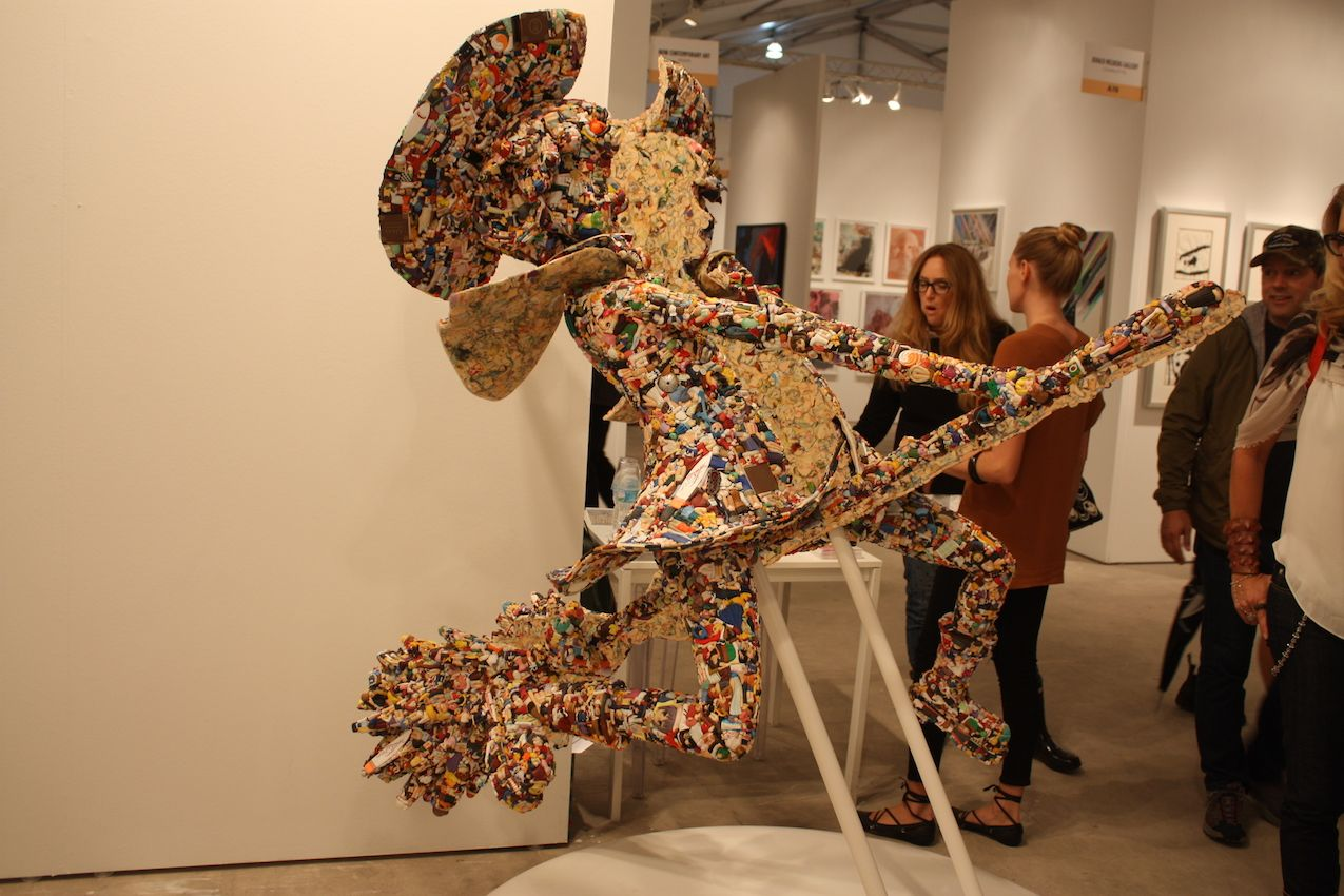 This sculpture uses melted anime dolls to create a new piece, which is then sliced in half. Definitely a conversation piece, this was created by 3(Three) from Fukushima, Japan.
