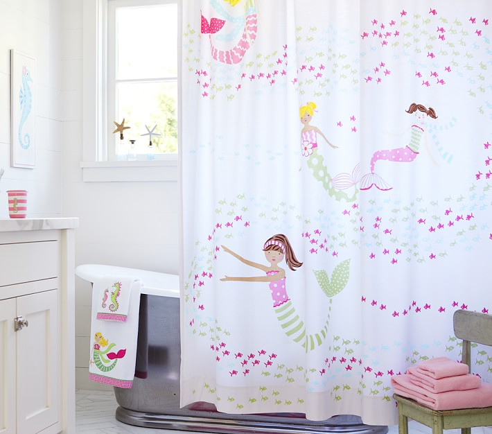 40 pieces of mermaid decor that will have you and your for Kids shower curtain sets