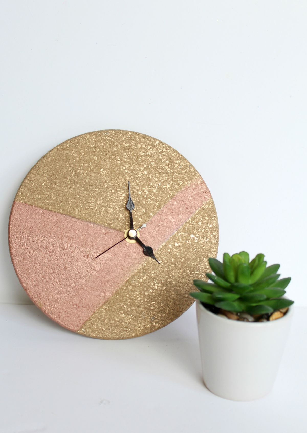 Mixed Metallics Geometric Clock Potted