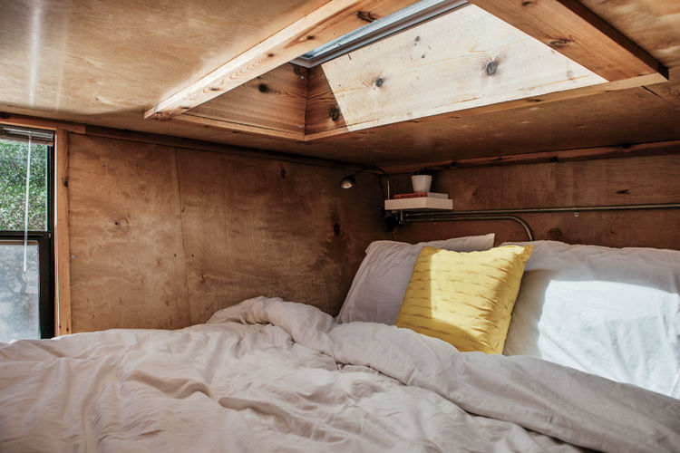 Mobile house on wheels bed