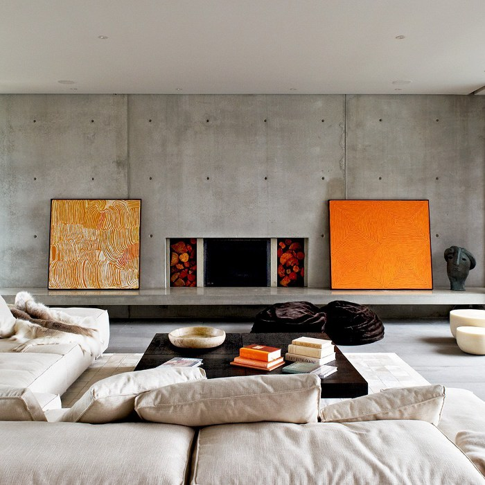 Modern and contemporary living room decorated with framed arts