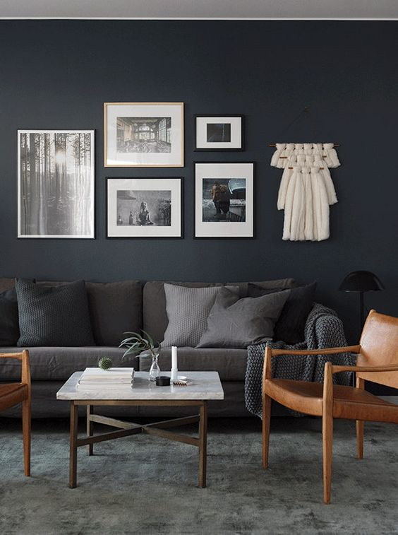 Moody black living room