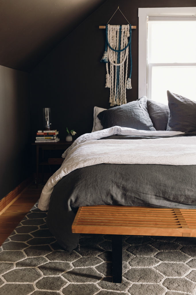 Moody dark brown bedroom