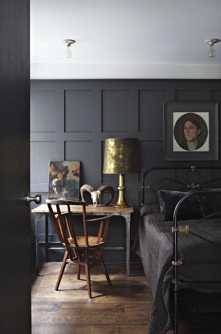Moody dark gray bedroom