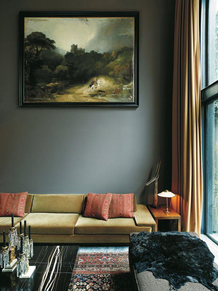 Moody gray living room