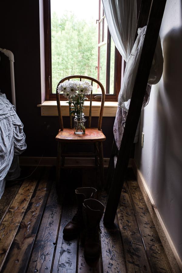 Moody light brown bedroom