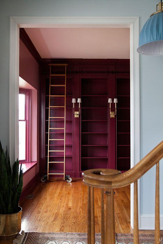 Moody Red Bookshelves
