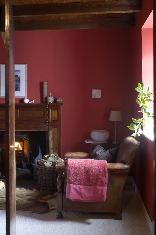 Moody red living room