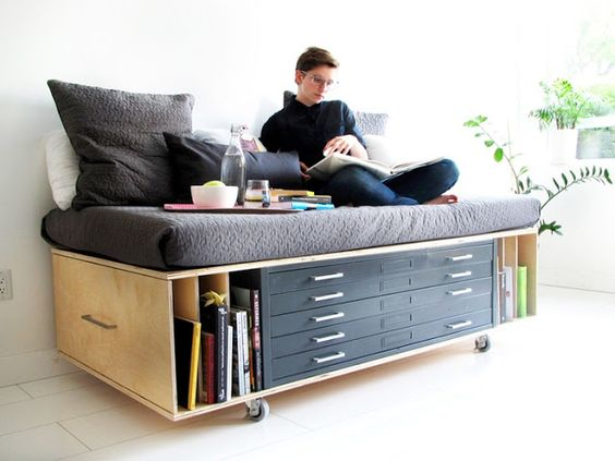 Multifunctional furniture - on wheels with a lot of drawers