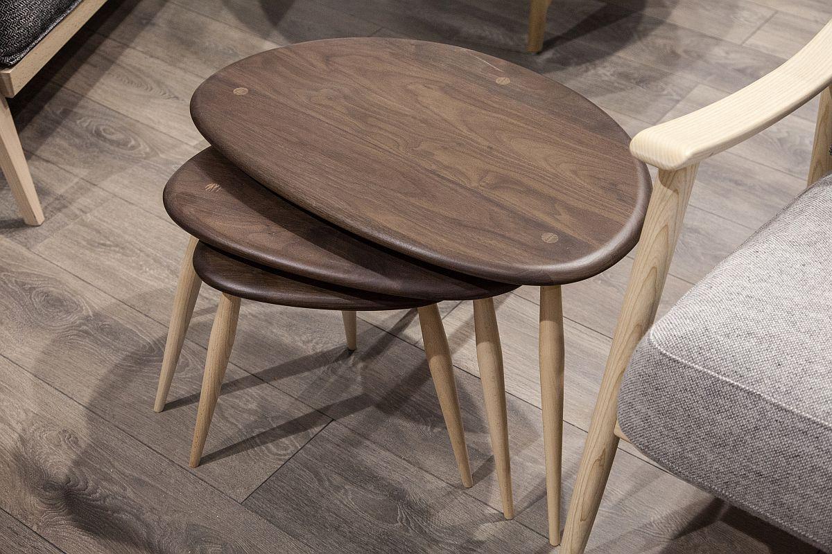 Nest walnut coffee tables