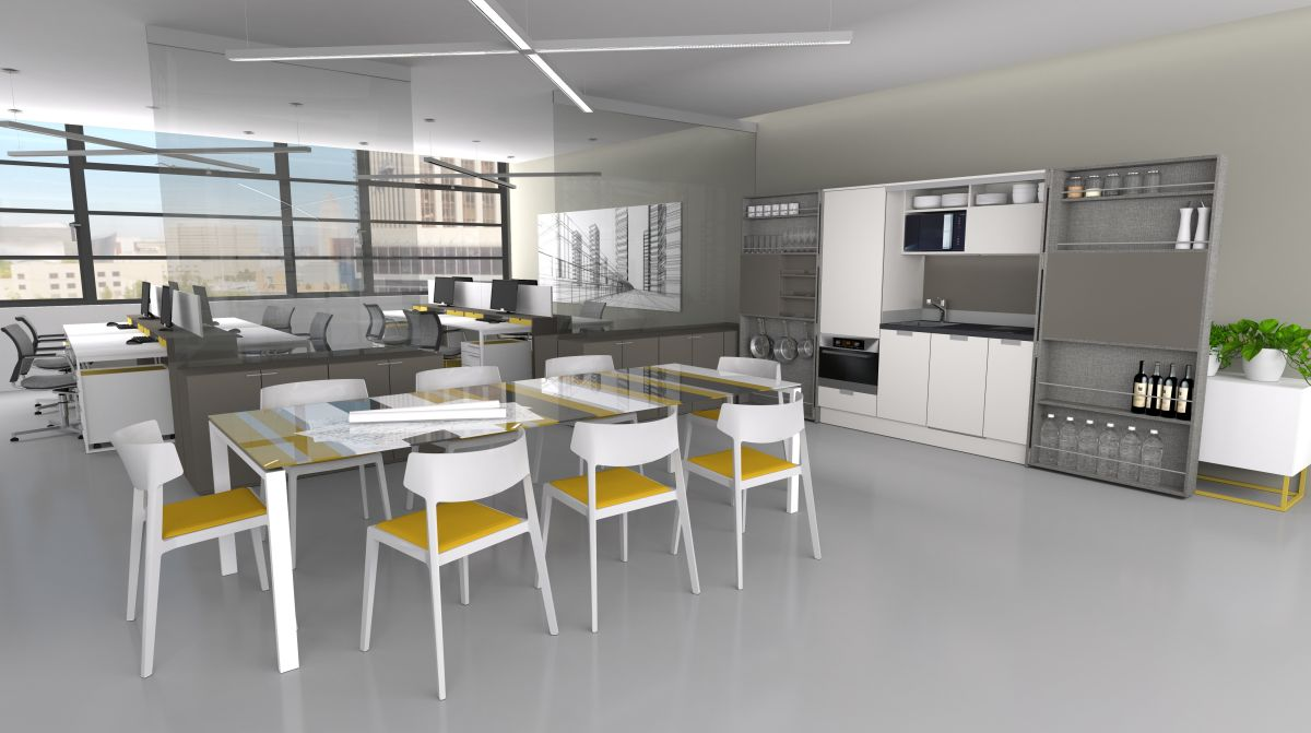 Office Interior Design Rendering Photo With Compact Kitchen Open