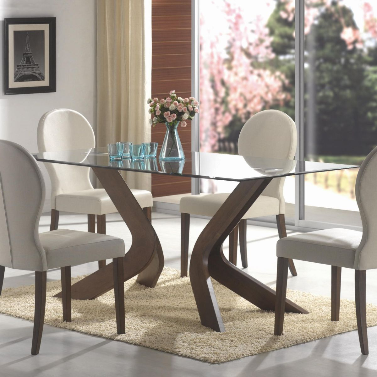 Dining table top design ideas - Oval Back Dining Chairs And Glass Top Table