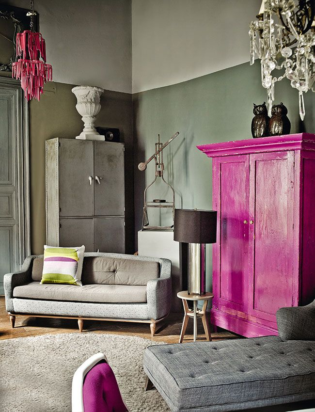Pink painted cabinet for living room storage