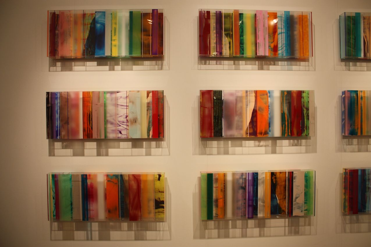 Plexiglass wall art by German artist Michael Laube could work in any rom of your home.