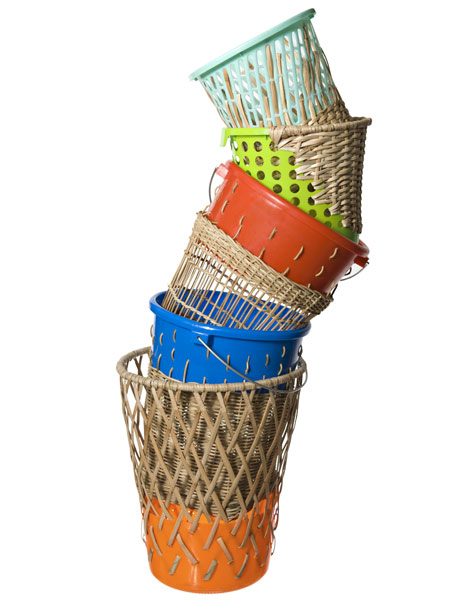 Rattan Bow Bins from rattan and plastic
