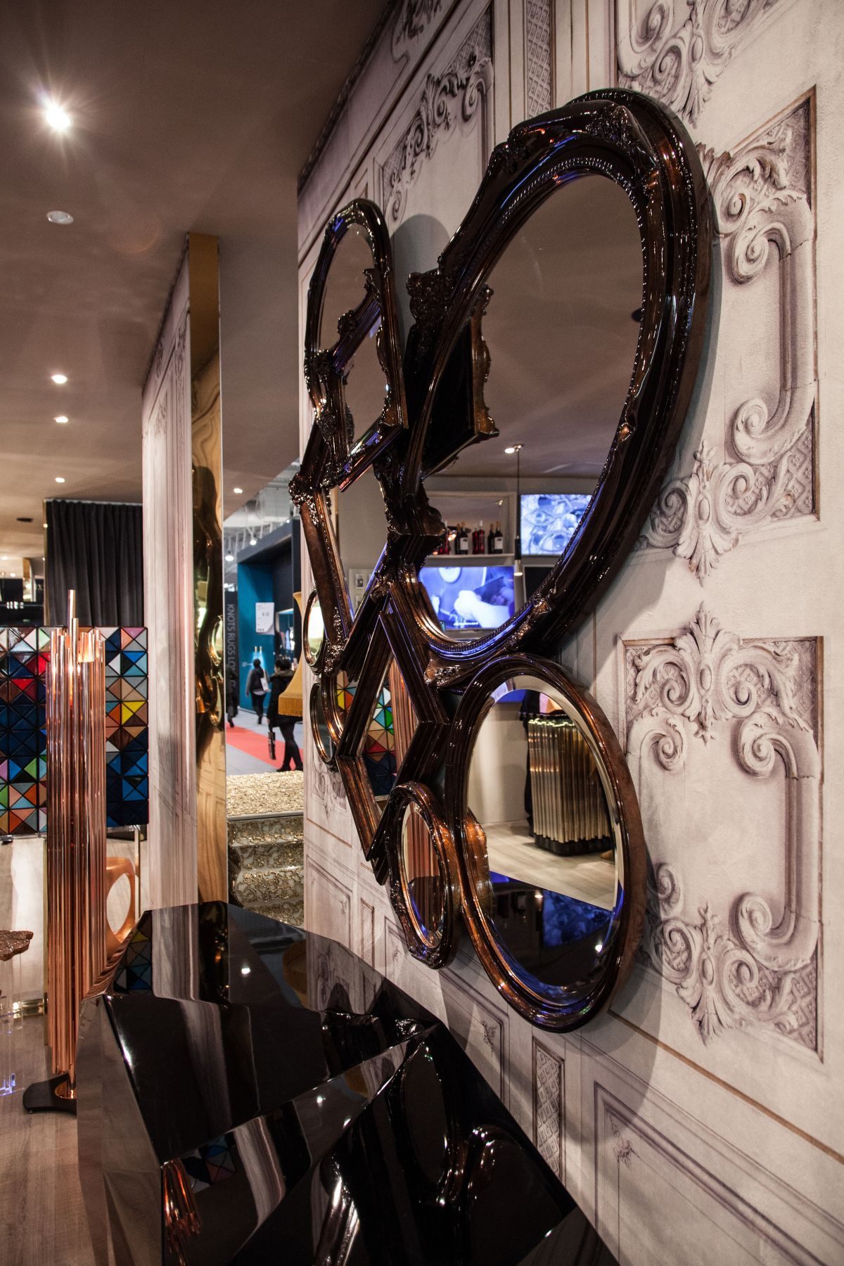 Root black frame mirrors from Bocadolobo
