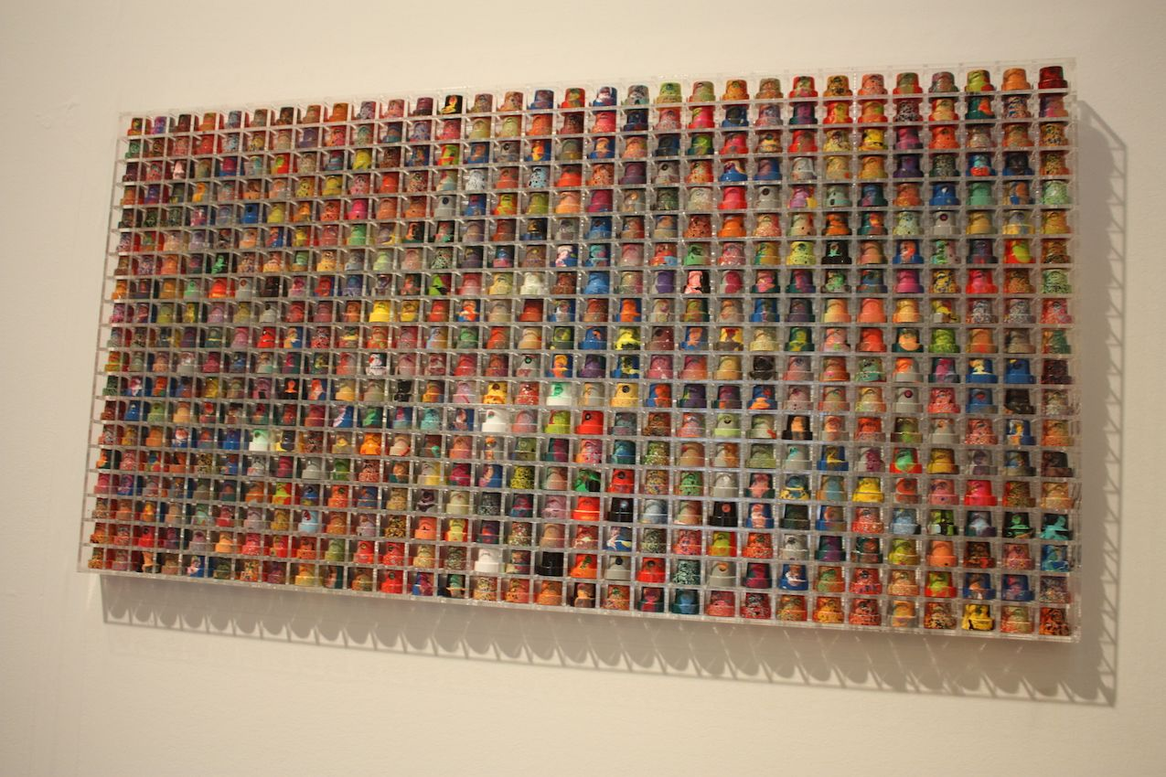 From a distance this mosaic-like piece is colorful.
