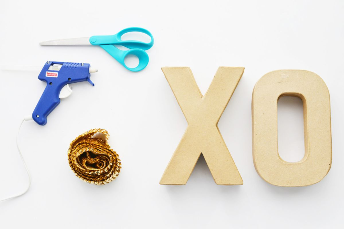 Supplies for DIY Sequin XOXO Letters